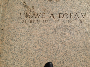 The tile under my feet at the Lincoln Memorial. I HAVE A DREAM!